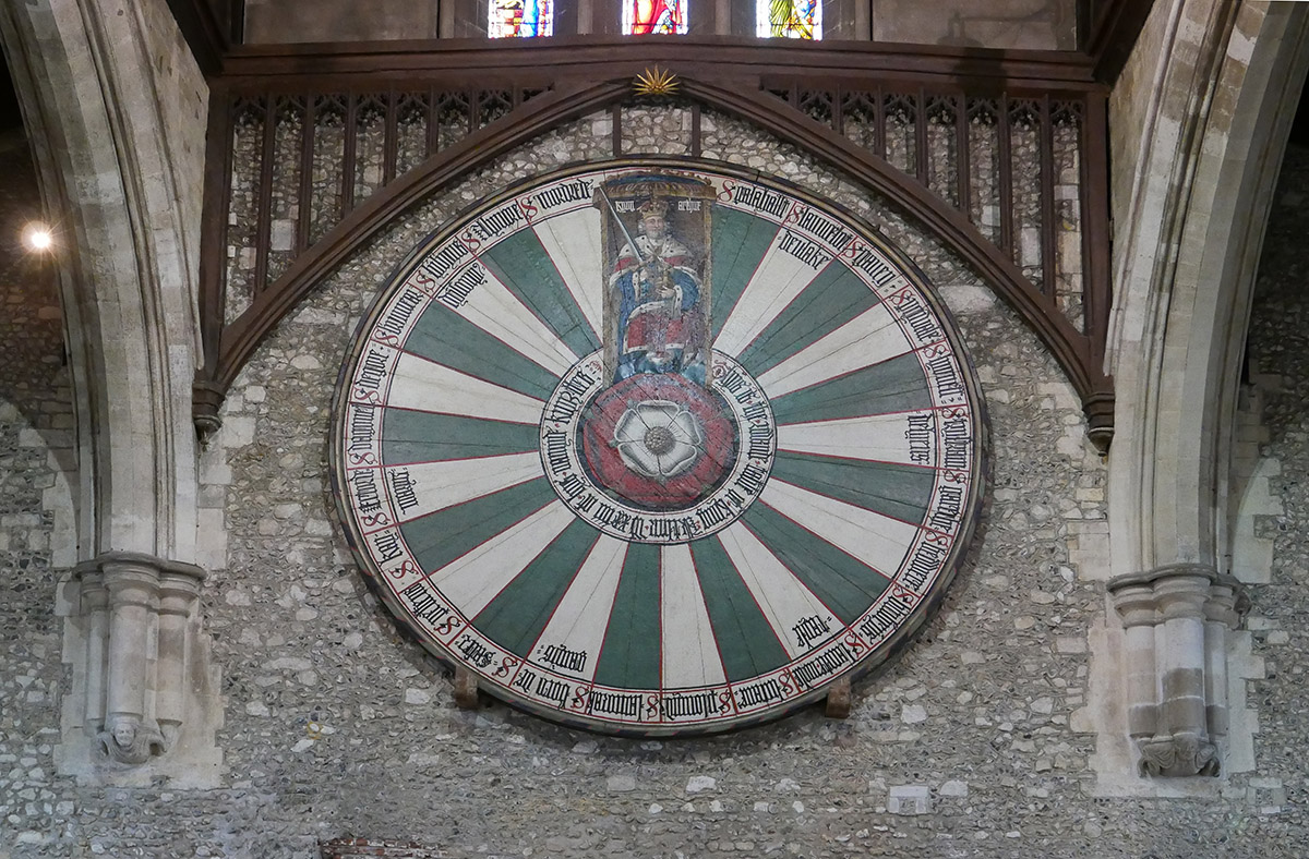 the 700 year-old Winchester Round Table, housed in the C13th Great Hall